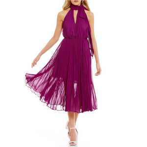 Betsey Johnson Purple Tie-neck Pleated Midi Dress